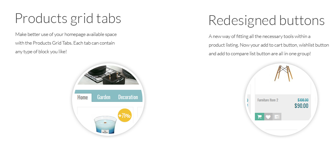 Emart Product Tabs and Product Listing Icons