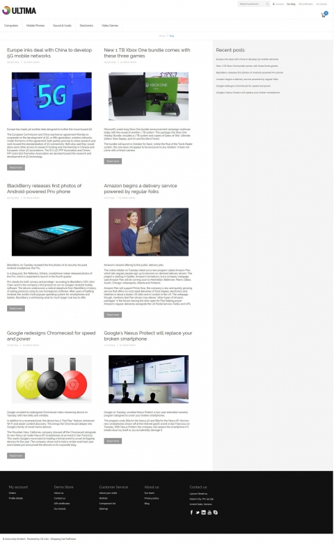 Ultima Responsive CS-Cart Theme Blog View
