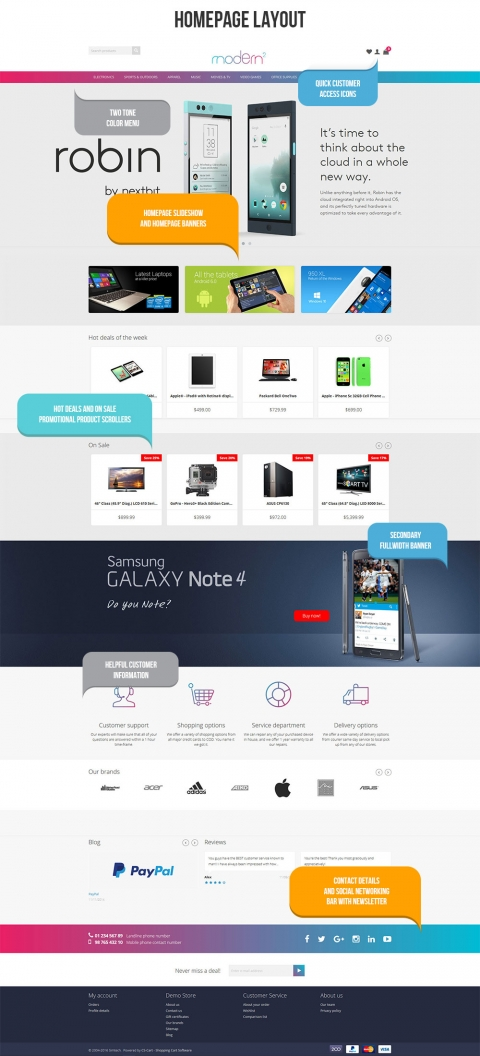 Modern2 Responsive CS-Cart Theme Homepage view