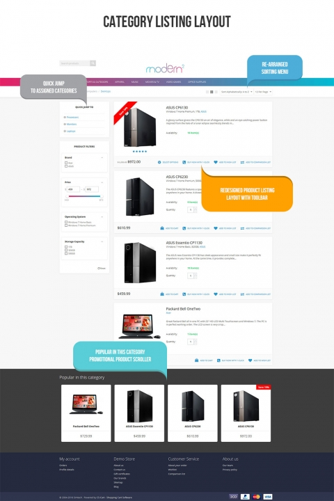 Modern2 Responsive CS-Cart Theme Listing view